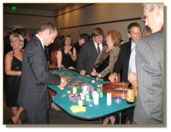 Players having fun at the roulette table at a casino event