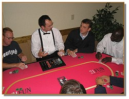 Dealers entertaining the guests at a casino night